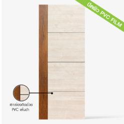ประตูบ้าน HDF รุ่น Pl 41 ปิดผิว Pvcfilm ประตูบ้านสำหรับประตูภายในเซาะร่องติดด้วย Pvc เส้นเงิน ลวดลายให้ความรู้สึกเสมือนไม้ผิวเรียบ ประตูสามารถปรับไสได้ด้านละ 5 mm.